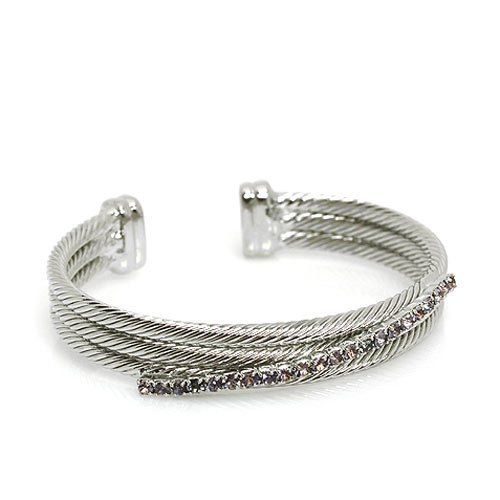 Fashion Cuff Bracelet; Silver Metal with Purple Rhinestones; Adjust to fit Most Eileen's Collection. $39.99