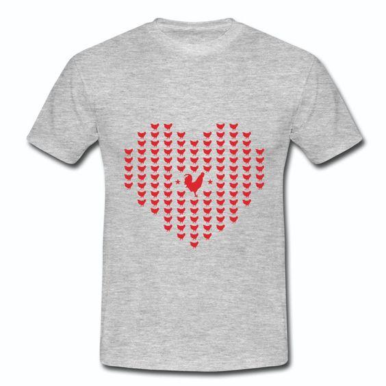 T-shirt Gris France Coqs Cœur
