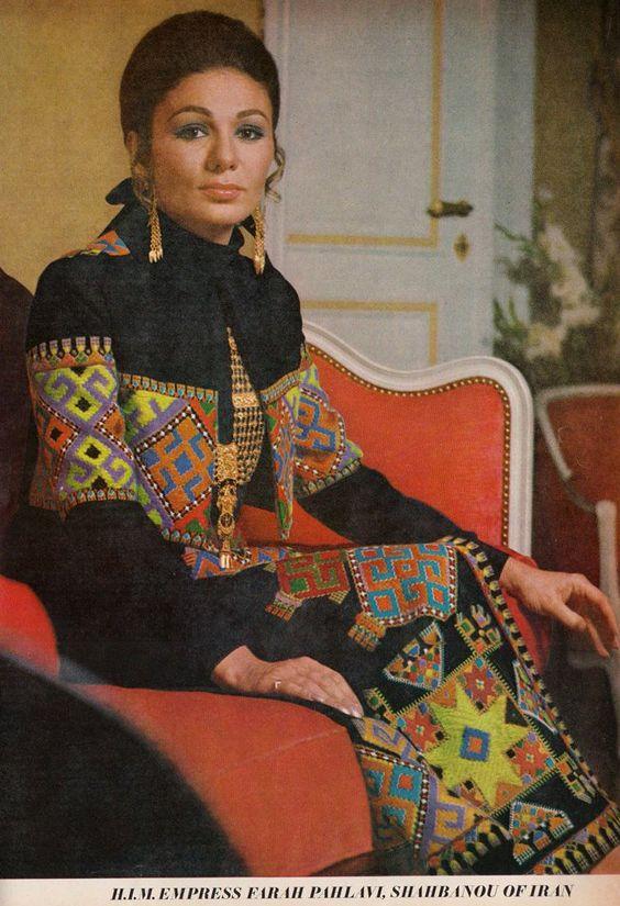 Shahbanou Farah Diba photographed by Henri Clarke for Vogue, 1969.