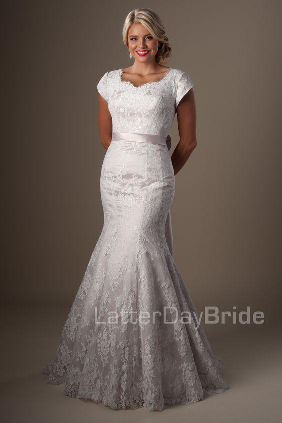 The ribbon modest wedding dresses and flare on pinterest for Latter day wedding dresses