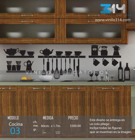 Vinilo 3 14 vinilos decorativos utensilios de cocina for Precios de utensilios de cocina para restaurantes