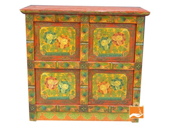 Tibetan Box Cabinet hand painted into pine wood