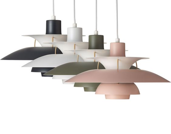 Louis Poulsen - PH5 Pendants in the new contemporary colours Pale Rose/Green, Army/Dark Grey, White/Pale rose and Dark Grey/Turquoise. For more information and inspiration have a look here: http://www.shop.louispoulsen.dk/
