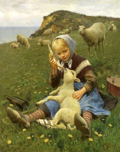 'Feeding The Lamb' - Hans Ole Brasen | Danish painter 1849-1930.