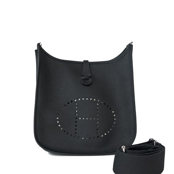 Hermes Black Evelyne PM in Clemence leather, which is dent, scratch, and stain resistant.