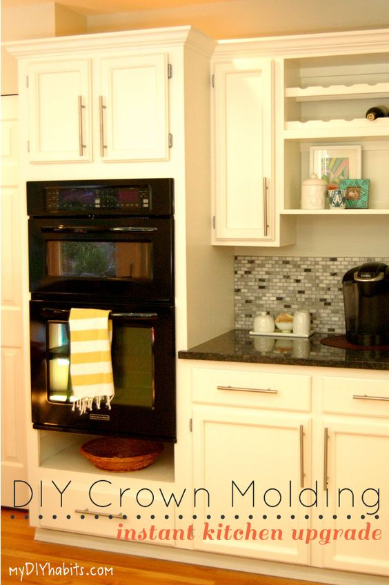 Adding instant drama to kitchen cabinets moldings for Diy kitchen cabinets