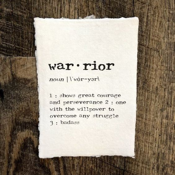 warrior definition print in typewriter font on 5x7 or 8x10 handmade cotton paper, woman warrior, cou