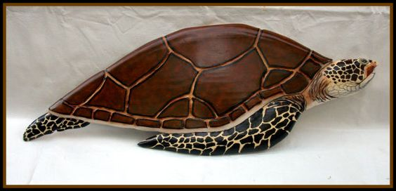 Sea turtle wood carving decor beach marine