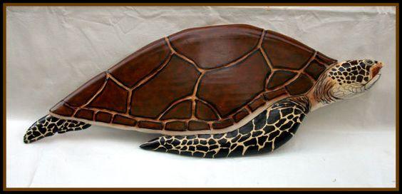 Sea turtle wood carving decor beach marine