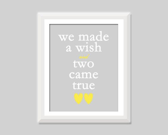 We Made A Wish and Two Came True Twin Quote by SweetPapelDesigns