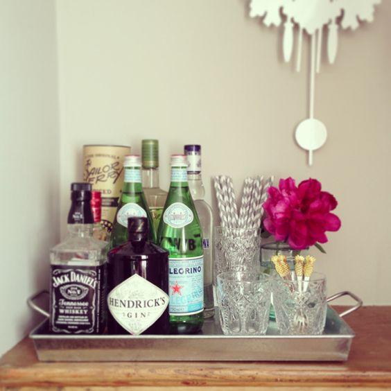 Bar Tray | Pressed Glass | Peonies | Hendricks Gin | Striped Straws
