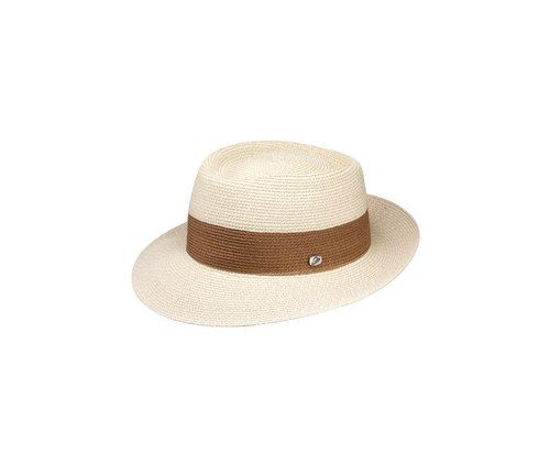 Borsalino - Two-colour hemp jersey hat, flat dome, wide brim, metal logo; 2014 collection