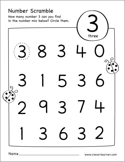 Free Printable Scramble Number Three Activity Preschool Math Worksheets Numbers Preschool Preschool Worksheets