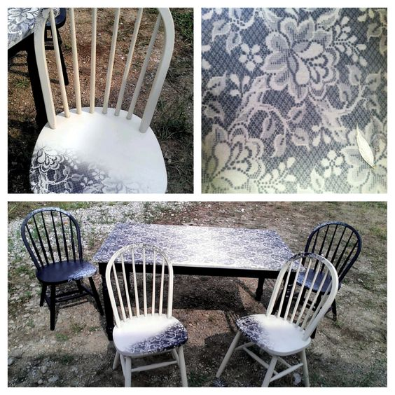#lace #spray paint #diy table: