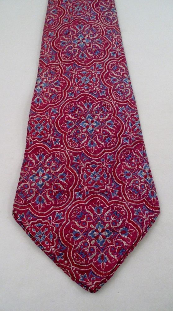 Vintage Dayton OH cosmopolitan Co Medallion Necktie 48Lx4W Red Blue Hipster