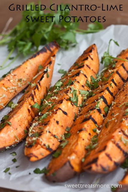 need to make this immediately... Grilled Cilantro-Lime Sweet Potatoes
