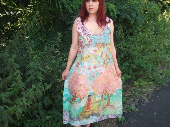 10 % SALE Handpainted Silkdress Größe M. von aminamarei auf Etsy