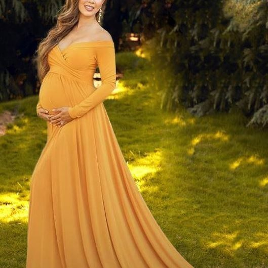 Lukalula Off The Shoulder Photoshoot Maternity Dress In Gold Yellow Size Med Yellow Maternity Dress Maternity Dresses For Baby Shower Maternity Long Dress