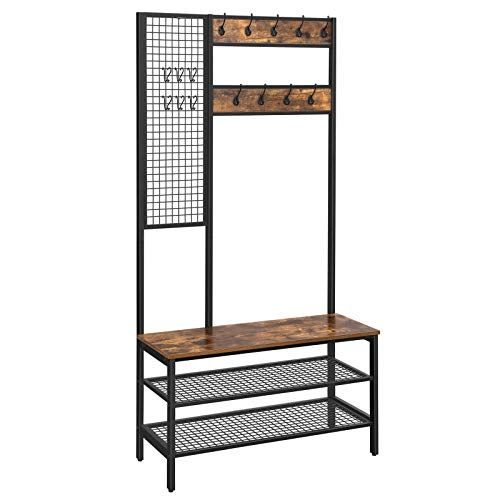 Vasagle Alinru Hall Tree Coat Rack Coat Stand With Grid Wall Shoe Rack 2 Mesh Shelves 15 Hooks 72 8 Inch Tall In 2020 Wooden Coat Rack Coat Stands Hall Tree