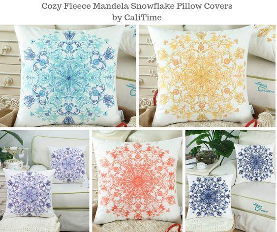 Cozy Fleece Mandela Snowflake Pillow Covers by CaliTime