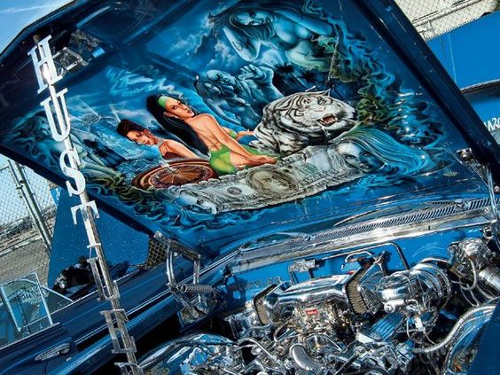 Lowrider cars and airbrush art on pinterest for Airbrush car mural