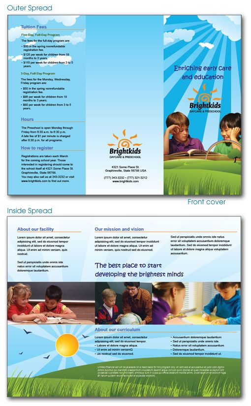 indesign-template-daycare-preschool-brochure Preschool ideas