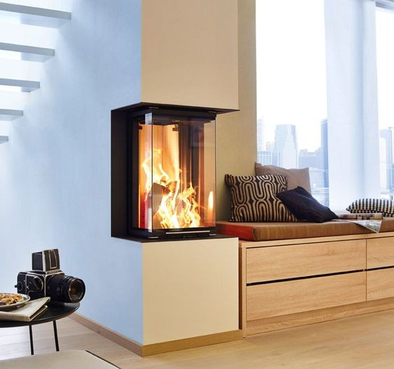 Grey Delightful Double Sided Gas Fireplace In Living Room Design - heizsysteme uberblick vielzahl