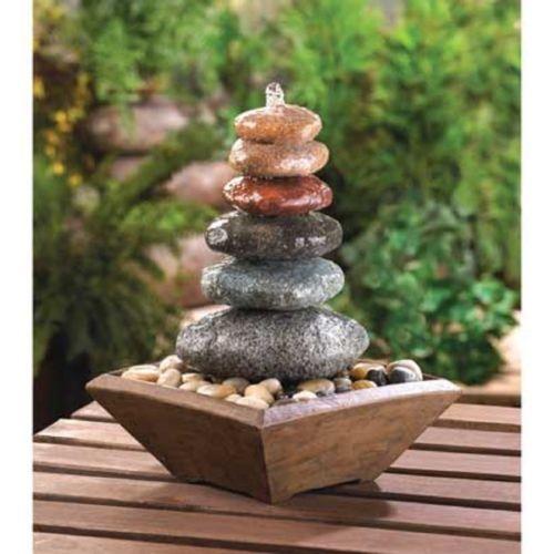 Zen Stacked Stone Water Fountain Indoor or Outdoor Meditation Table Top Decor   eBay