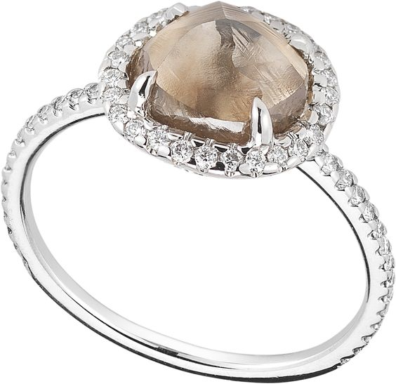 2.14ct Brown rough diamond ring with a naturally perfect circular shape. #classic #ditrjewelry #diamondrings