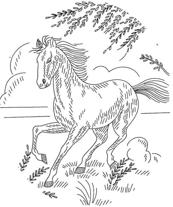 Hand embroidery pattern design horses for pictures or