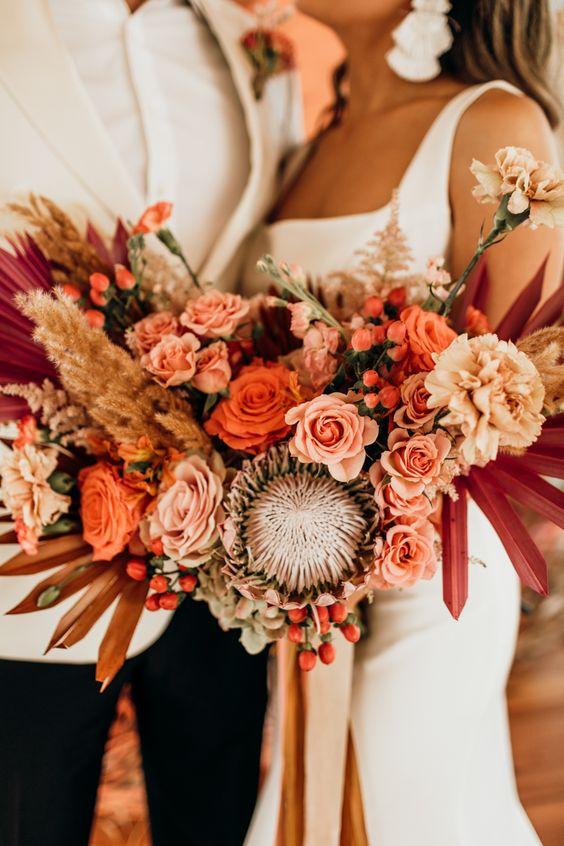 Jewel Tones and Rust Fall Wedding Colors #autumnwedding #color fall wedding ideas, fall bouquet, rust wedding color , jewel tones wedding color #wedding #fallwedding