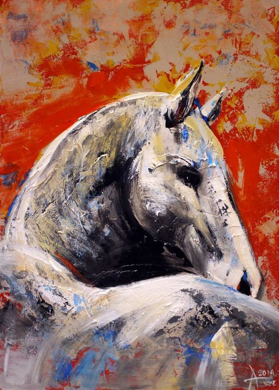 "Saatchi Art Artist Alla Dzevaltovska; Painting, ""Horse 18"" #art"