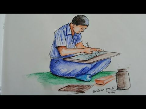 How To Draw Human Figure And Colour Memory Drawing Youtube