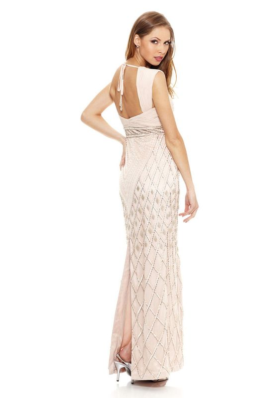 NWT Sue Wong Blush Cap Sleeves Open Back Beaded Sequin Column Gown Size 6 $688 #SueWong #ArtDecoIllusion #Formal