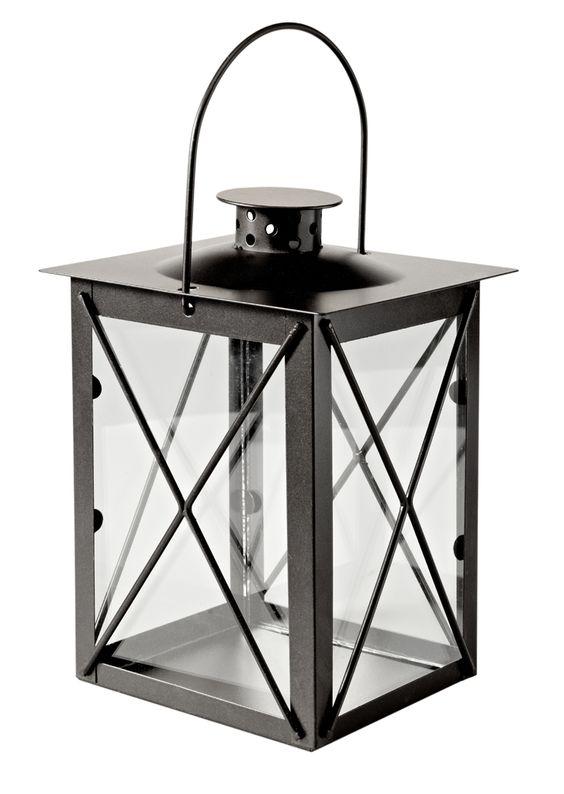 Metall-Laterne, 20 cm, schwarz