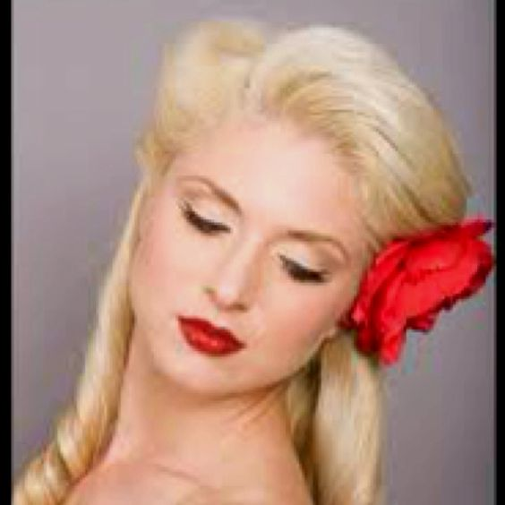 Like the pin up hairstyle! It's retro chic..