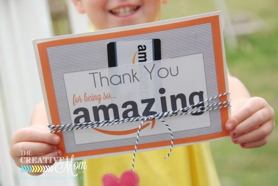 Amazon Gift Card Printable Tag for teacher appreciation gift idea #teachergift #teacherappreciation