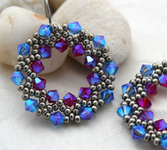 Blue and Pink Crystal Half-Wreath Earrings by LainaLacy on Etsy