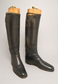 """Riding Boots 1810, British, Made of leather My hero Phillip Paulson in """"The Steeplechase"""" would have worn some like these when riding."""