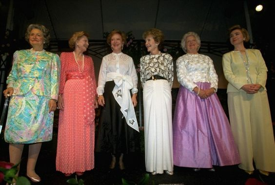 But the crown for most-gathered actually belongs to First Ladies. Here's a 1994 photograph of First Lady Hillary Clinton (far right) along with (from left) Lady Bird Johnson, Betty Ford, Rosalynn Carter, Nancy Reagan, and Barbara Bush.