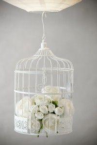 Tirelire Cage à Oiseaux en métal blanc - Volière de Décoration -  Déco Mariage - Pot de Fleurs