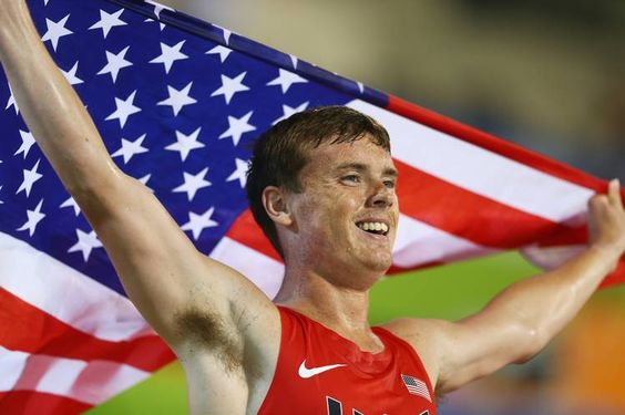 Michael Brannigan of the U.S. celebrates winning gold in the men's 1500m during…