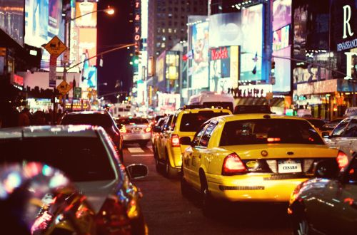 The traffic of Times Square.