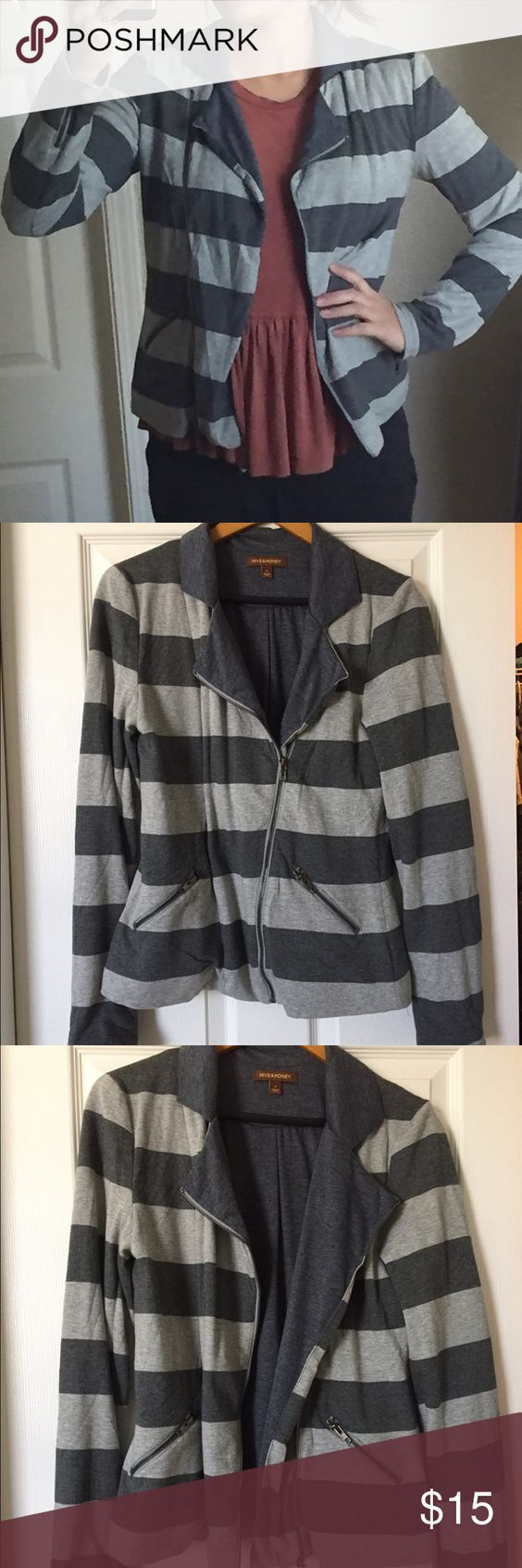 Hive & Honey Gray Striped Knit Blazer Like new Hive & Honey striped gray knit blazer. Wore once. Zipper front and zipper on sleeves. I am usually a size 6 in JCrew and Gap for sizing. Let me know if you have questions. Hive & Honey Jackets & Coats Blazers