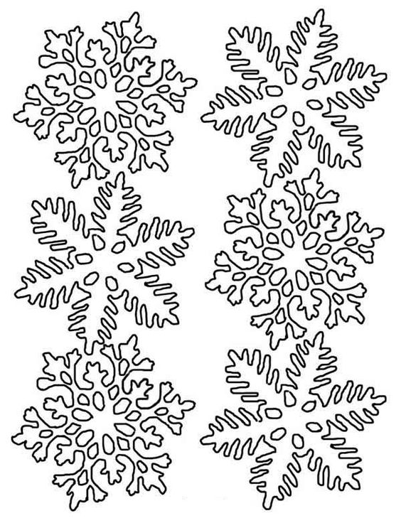 winter lovely snowflakes in many different form on winter coloring page - Snowflake Coloring Pages Kids