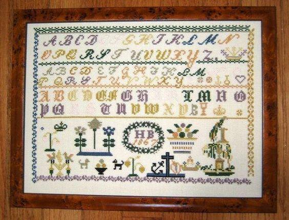 cross stitch samplers antique   HB 1867 Antique Sampler Reproduction cross stitch chart Samplers ...