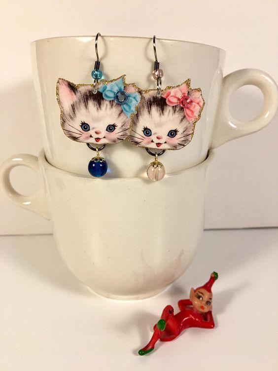 Persian Kitten Earrings Snow White Fur Cute Kitty Kitsch Persian Kittens Cute Cats White Kittens