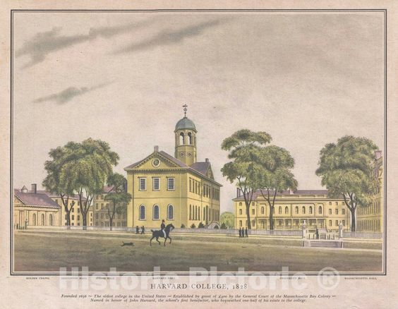 Harvard Hall, Harvard University, Cambridge Massachusetts, View of, 1828