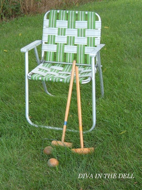 Vintage Aluminum Lawn Chair With Blue Webbing Lawn