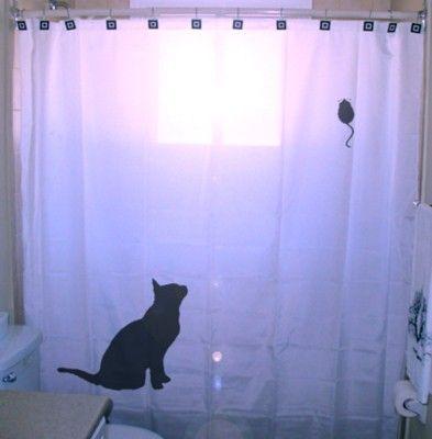 Mouse Cat Shower Curtain kids bathroom bath decor unique custom ...